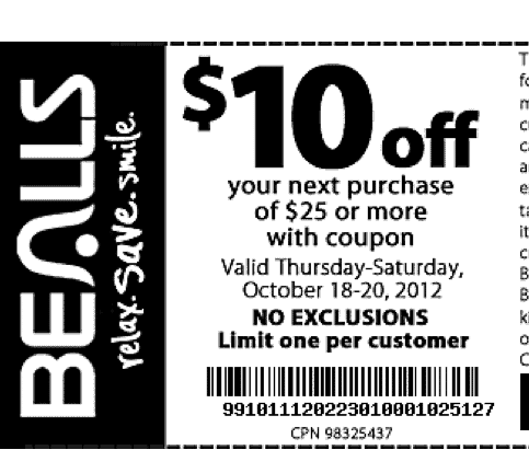 image regarding Bealls Printable Coupons known as Bealls Florida - $10 Off $25 Printable Coupon - Preserving By yourself