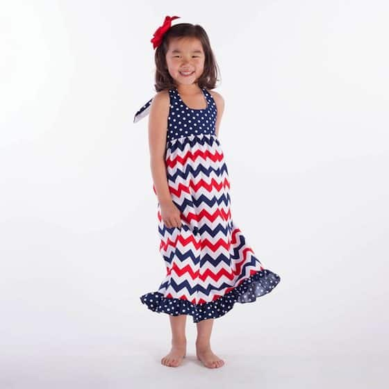 red white navy chevron dot halter maxi