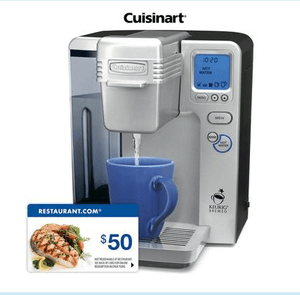 Cuisinart Coffee Maker Keurig Troubleshooting : Cuisinart Refurbished Keurig Brewing + USD 50 Restaurant.com GC - USD 110 (10/5 Only) - Saving You Dinero