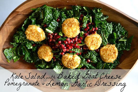 Kale salad with text
