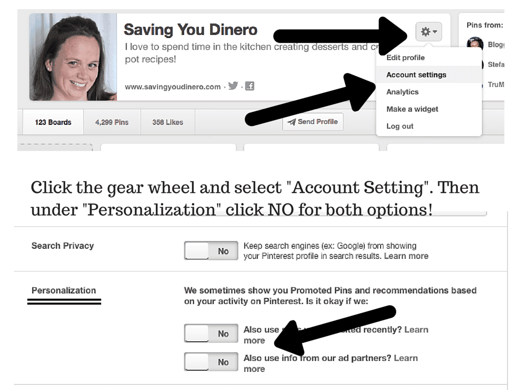 Click the gear wheel and select -Account (1)