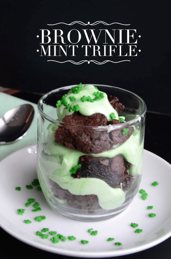 Brownie Mint Trifle {St Patricks Day Recipe} - Saving You Dinero