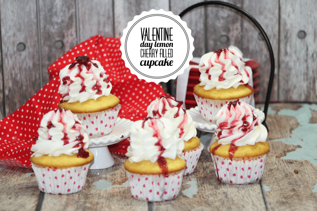 Valentine Day Lemon Cherry Filled Cupcakes