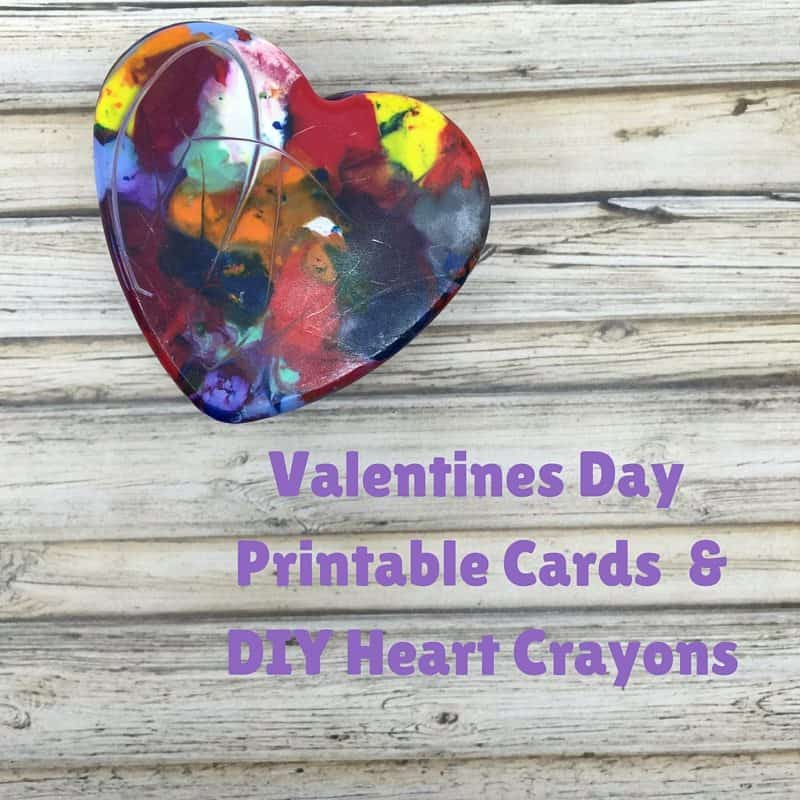 Valentines Day Printable Cards + DIY Heart Crayons