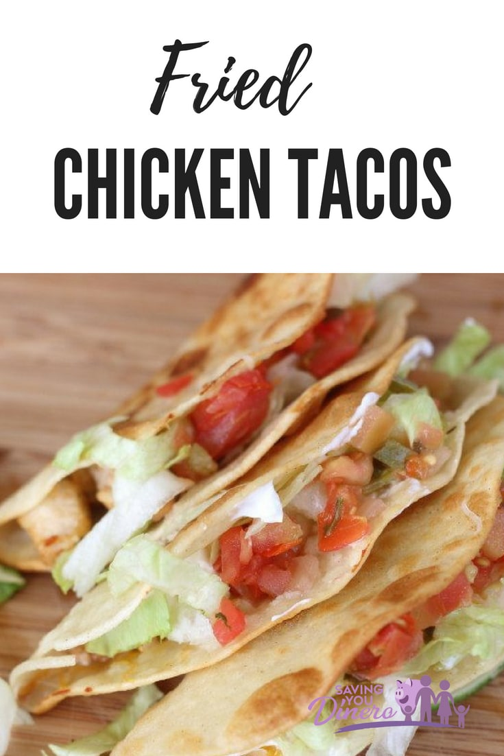 The best football food are these Mexican fried chicken tacos. Fill them with sour cream, cheese, pico de gallo, and lettuce for a delicious dinner. It's great to serve families - very kid friendly! It's comfort food! #taco #chicken #dinner