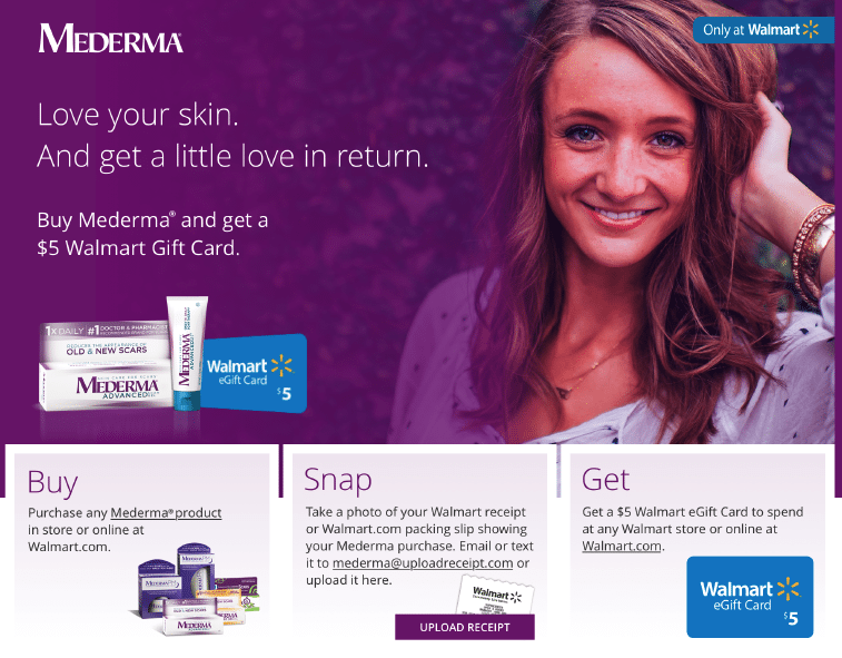 purchase a mederma product get a 5 walmart gift card saving you dinero. Black Bedroom Furniture Sets. Home Design Ideas