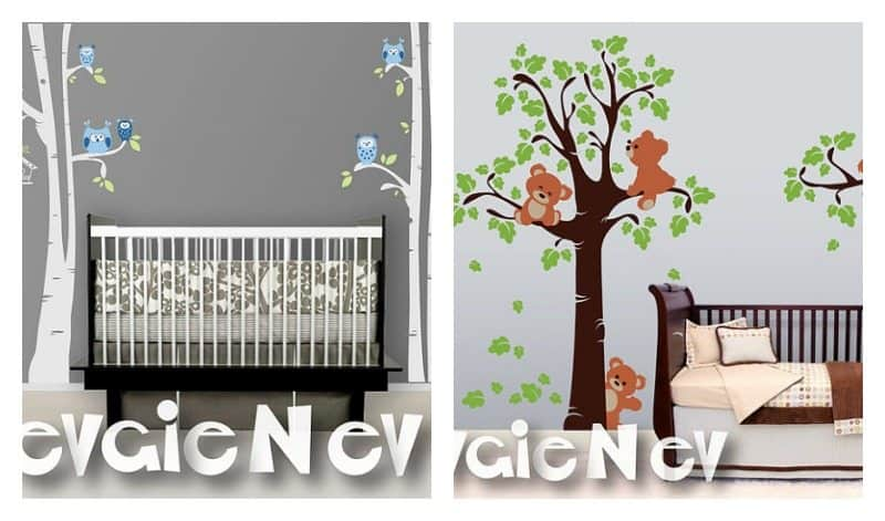 Beautiful Birches and Owl Wall Decal for Nursery
