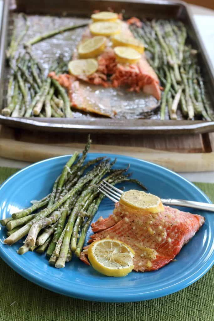 I love this Baked Salmon Lemon Garlic Recipe with Asparagus. This healthy meal can be on the table in about 20 minutes.