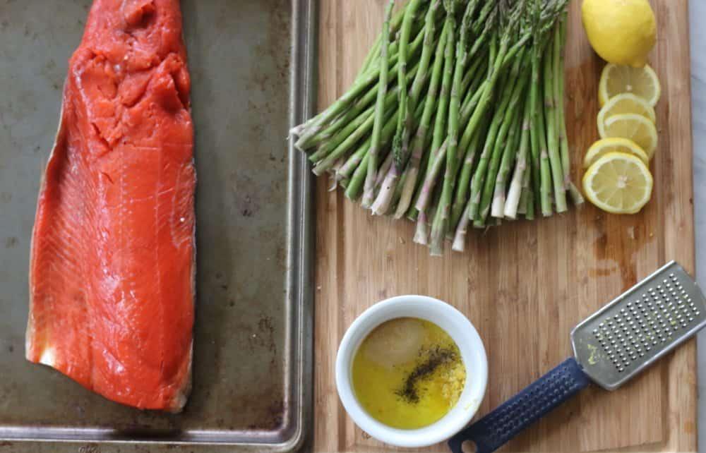 One Pan Lemon Garlic Salmon & Parmesan Asparagus