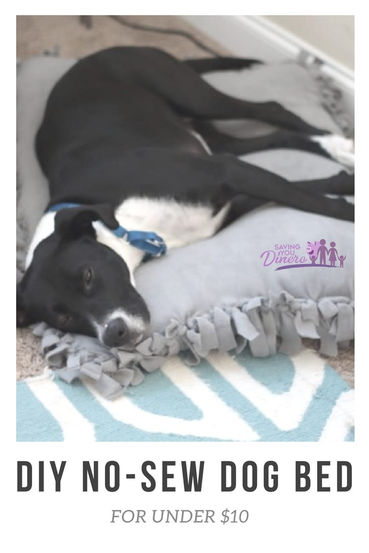 Make your pet this easy DIY No Sew Pet Bed to fit a small or large pet. It's perfect for your dog or new puppy. It is like a giant floor pillow.