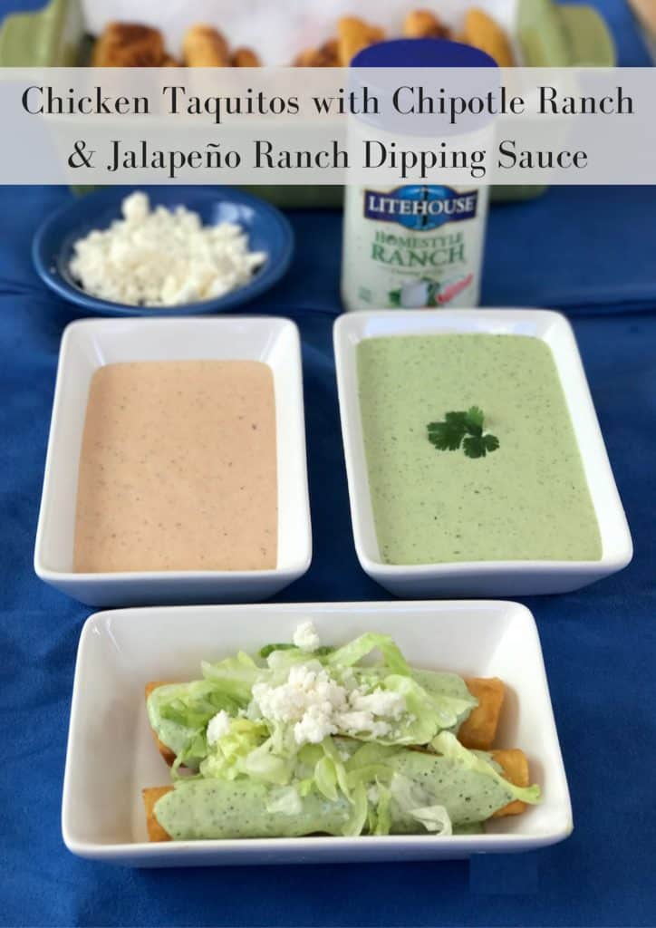 Chicken Taquitos with Chipotle Ranch & Jalapeño Ranch Dipping Sauce #DozenWaystoDip #ad