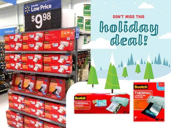 Check out the hot rollback price at Walmart on Scotch™ Thermal Laminators and Scotch™ Letter Size Thermal Pouches for $9.98 each!
