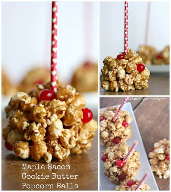 Maple Bacon Cookie Butter Popcorn Ball Valentine's Day Recipes