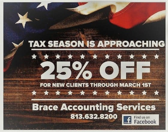 Tax Deal - Save 25% Off At Brace Accounting