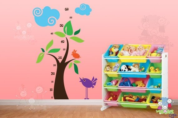 Great Growth Chart Wall Decals For Kids u Chipping Birds u This is SUCH a cute idea for a kids room Not only is it adorable but you can keep up with how fast