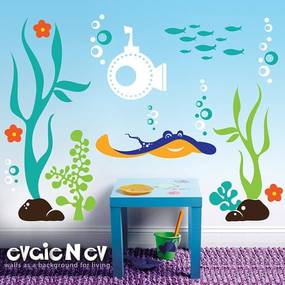 Fabulous Underwater Theme u Ray Submarine Seaweed and Fish u Wouldn ut this be perfect in a bathroom or playroom It us perfect for the ocean love and you know the