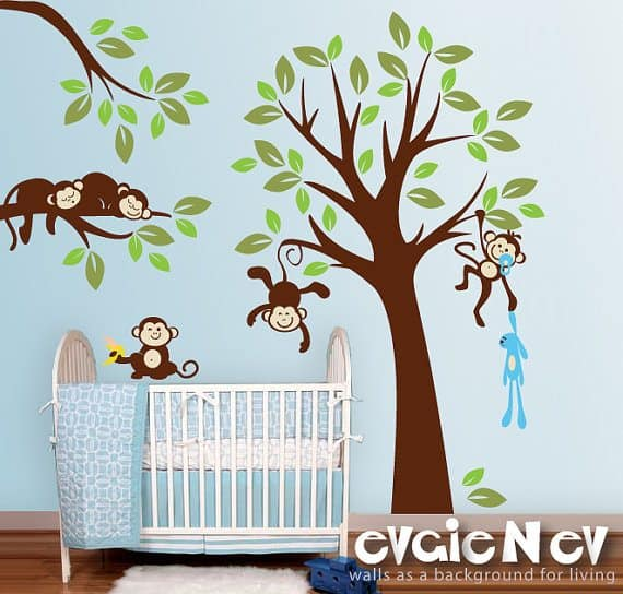 New Next we have the always fun Monkeys Wall Stickers I love the color pallet they use for this style It would look so sweet in a nursery