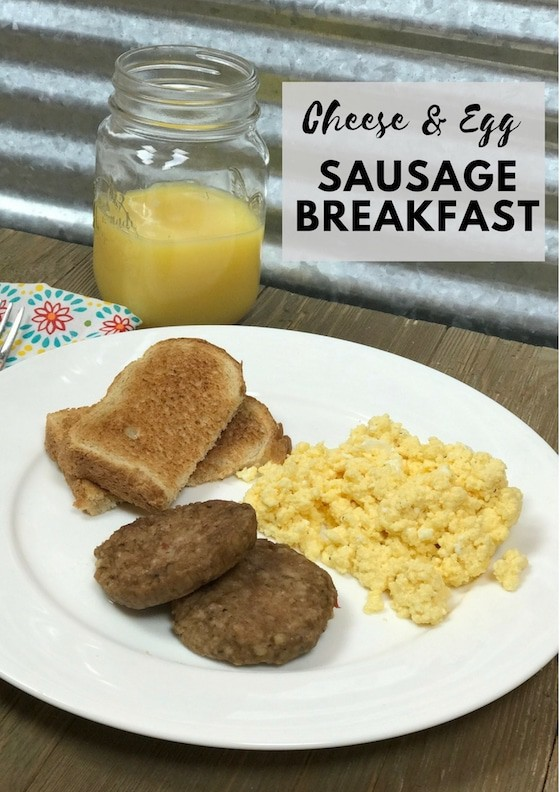 Cheese & Egg With Sausage Breakfast {Quick & Easy Breakfast}All opinions are my own. #JimmyDeanSausage