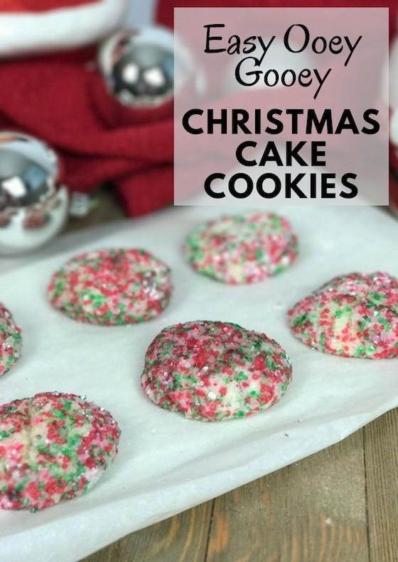 Easy Ooey Gooey Christmas Cake Cookies