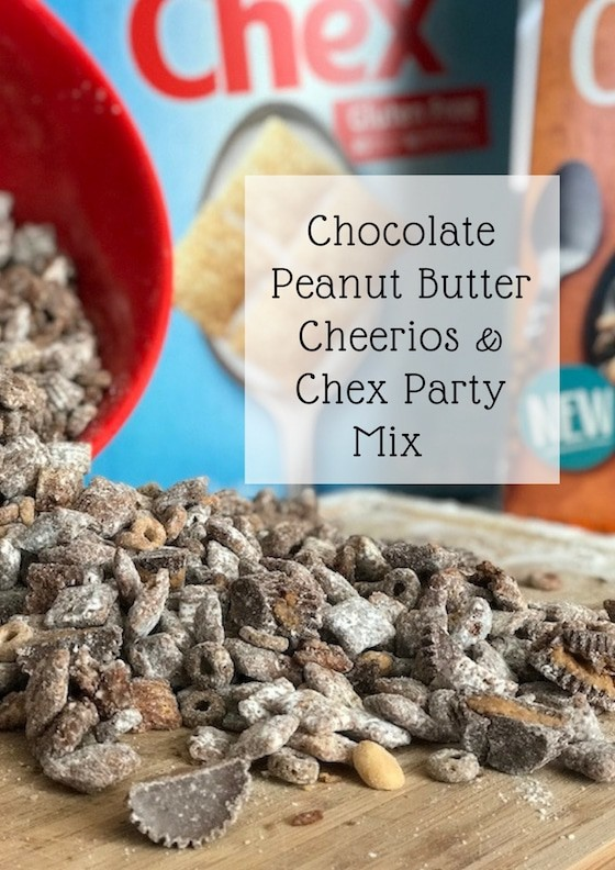 Holiday Snack: Chocolate Peanut Butter Cheerios & Chex Party Mix