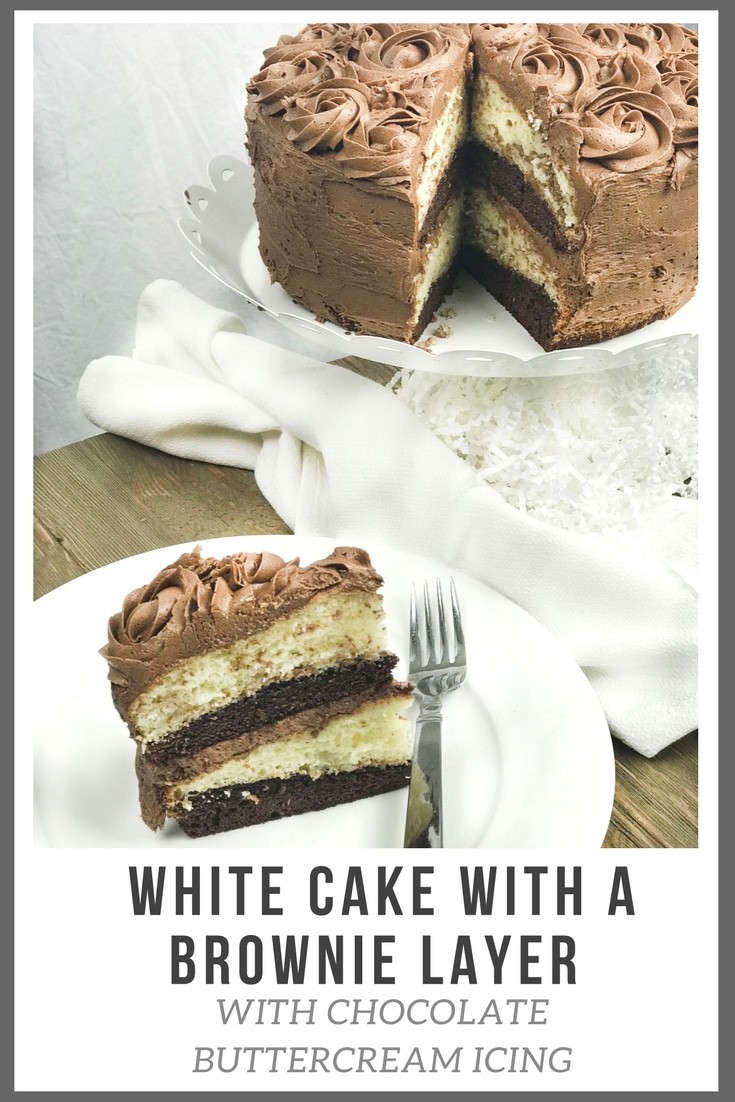Make this easy White Cake With A Brownie Layer and Homemade Chocolate Buttercream icing for your next event. It's great for Easter or a Birthday Cake. This dessert will impress anyone.