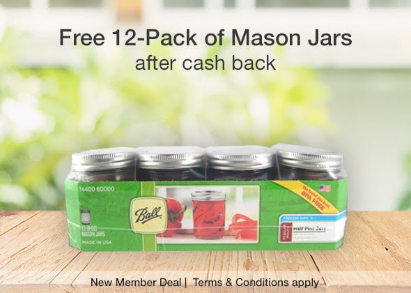 Free  Mason Jars from Target (After Cash Back)  + $5 Bonus