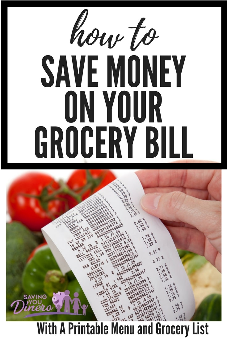 Here are some tips to help you save money on your grocery bill plus there's a free printable to do your meal plan and grocery list.
