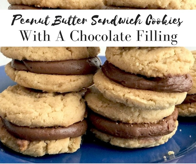 Peanut Butter Sandwich Cookies With A Chocolate Filling