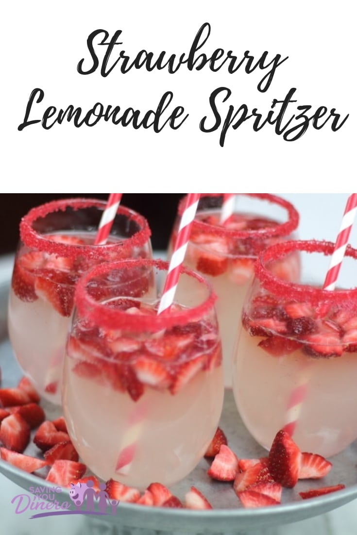 This is an easy party drink recipe for Strawberry Lemonade Spritzer! It could be a nonalcoholic punch recipe for Christmas punch. It's really yummy with candy sugar on the glasses. It's a fun punch for kids. It is a pretty red punch.
