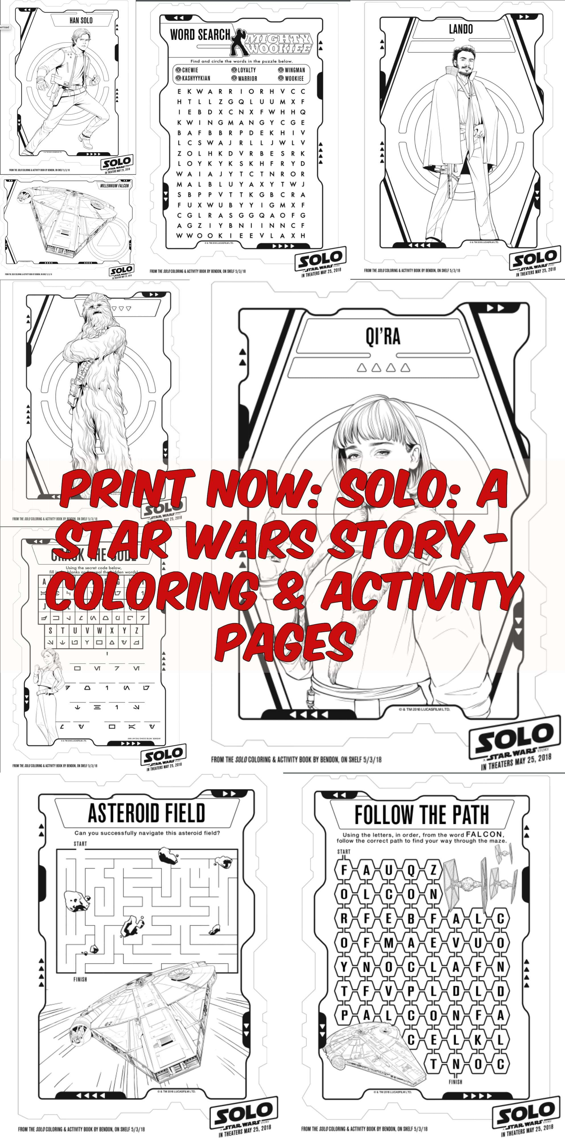 Print Now SOLO A STAR WARS STORY Coloring Activity