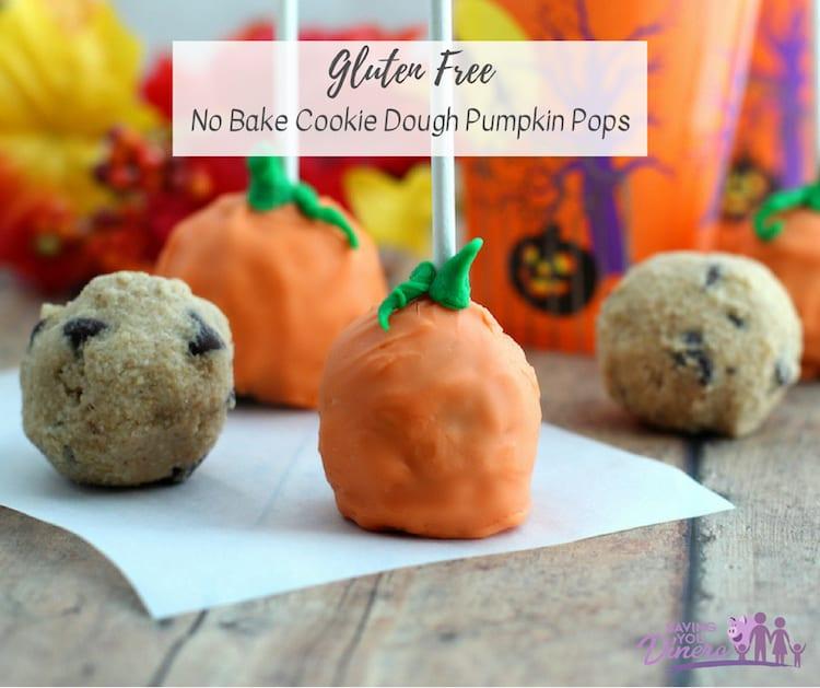 No Bake Cookie Dough Pumpkin Pops (Gluten Free/Eggless)