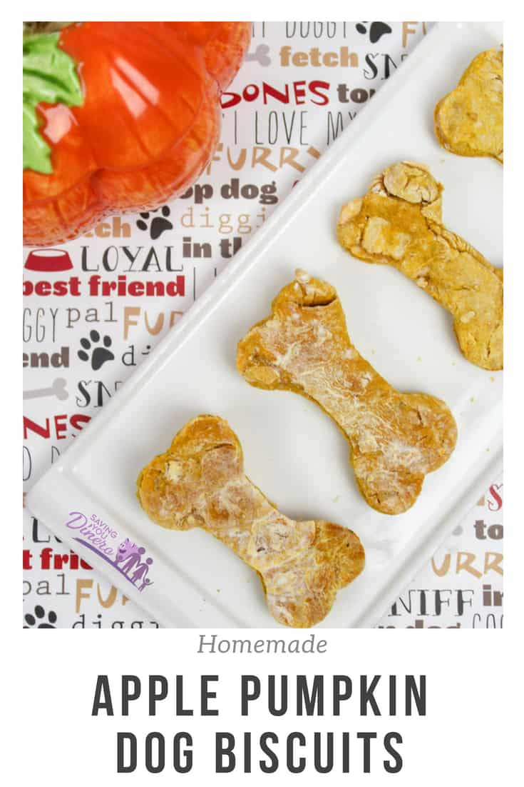 Easy and healthy homemade dog treats. They are made with pumpkin and apples. Your puppy will love them! #Dog #Dogtreats #pumpkin #apple