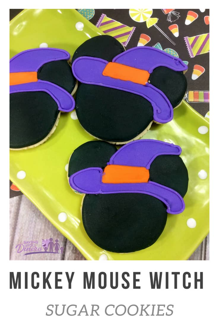 How to make Mickey Mouse Witch Sugar Cookies. It's a great Halloween cookie with royal icing that kids can make. It's a great homemade Disney Sugar Cookie! #Disney #Halloween #Cookies