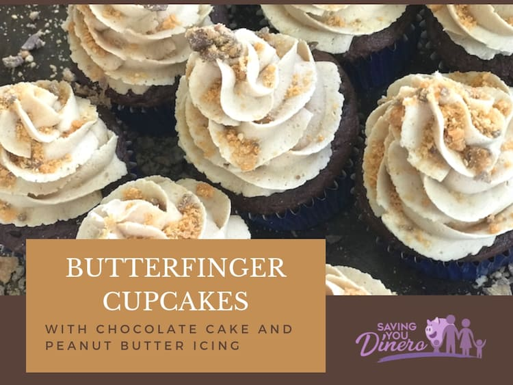 Butterfinger Cupcakes – Chocolate Cupcakes With Peanut Butter Icing