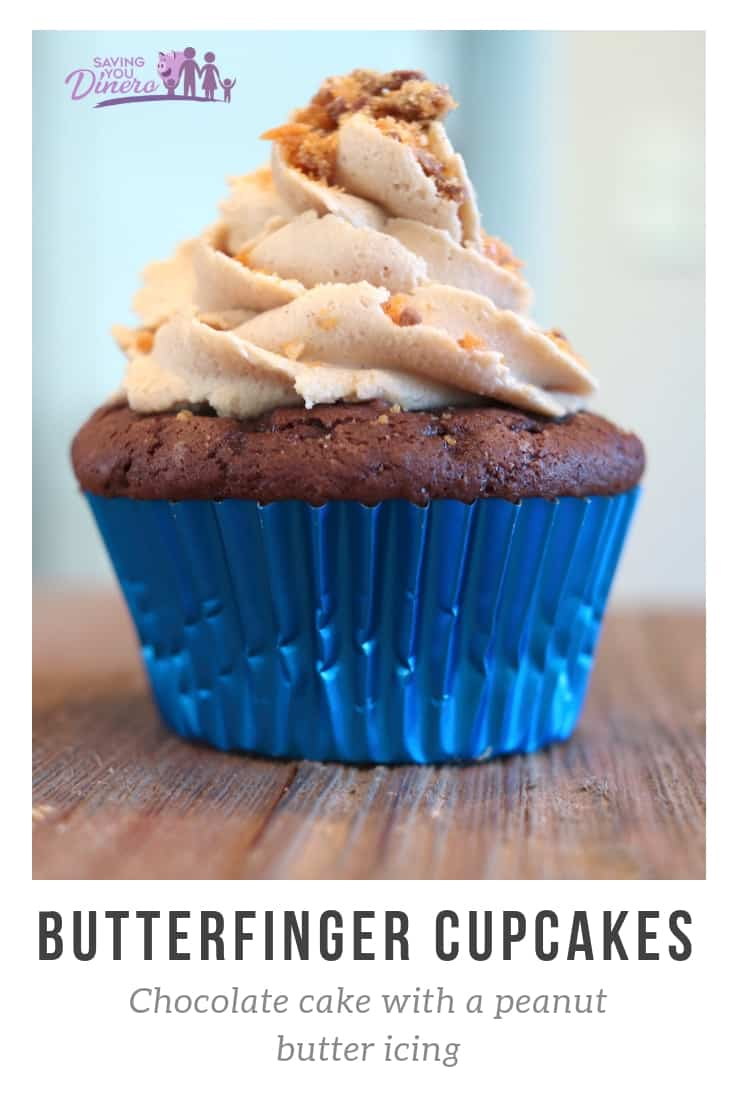 Need recipe to use up Halloween candy? Try this recipe for Butterfinger Cupcakes. It's made from a chocolate cake mix but then you add a few ingredients so it tastes like it's from scratch. It is topped with the best peanut butter buttercream icing. #cupcake #halloween #candy