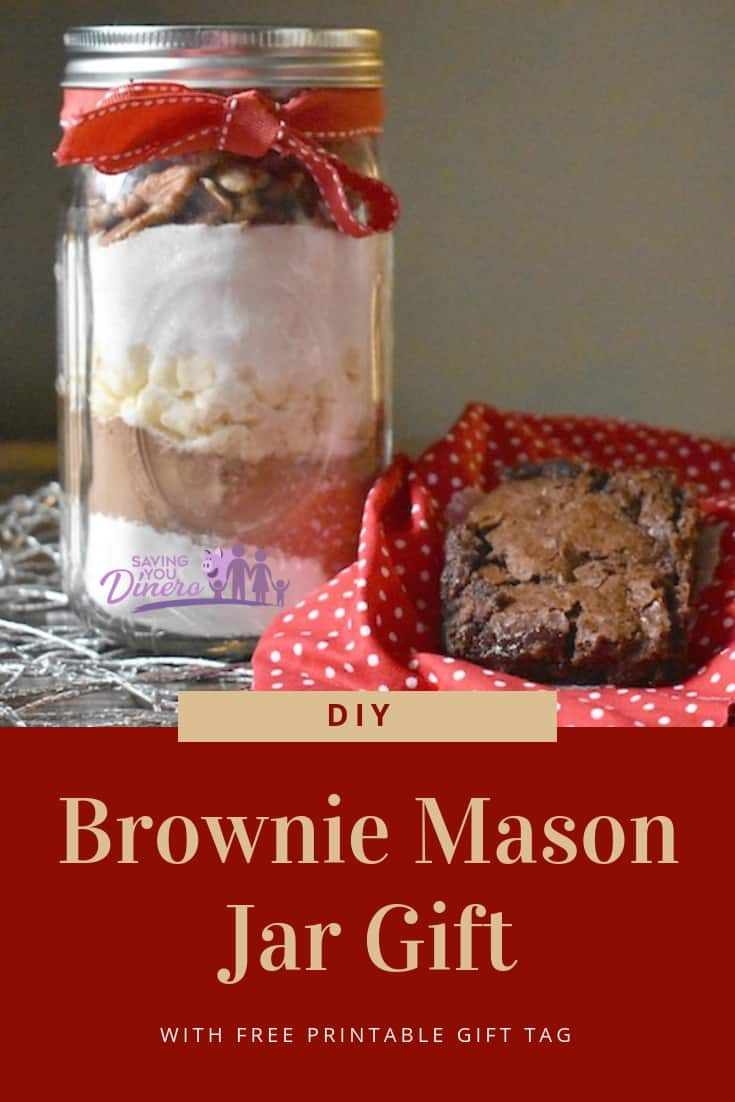 DIY Mason Jar Gift recipe for brownies. It's a great gift for Christmas for friends, coworkers, or teachers. It's something for kids to make.
