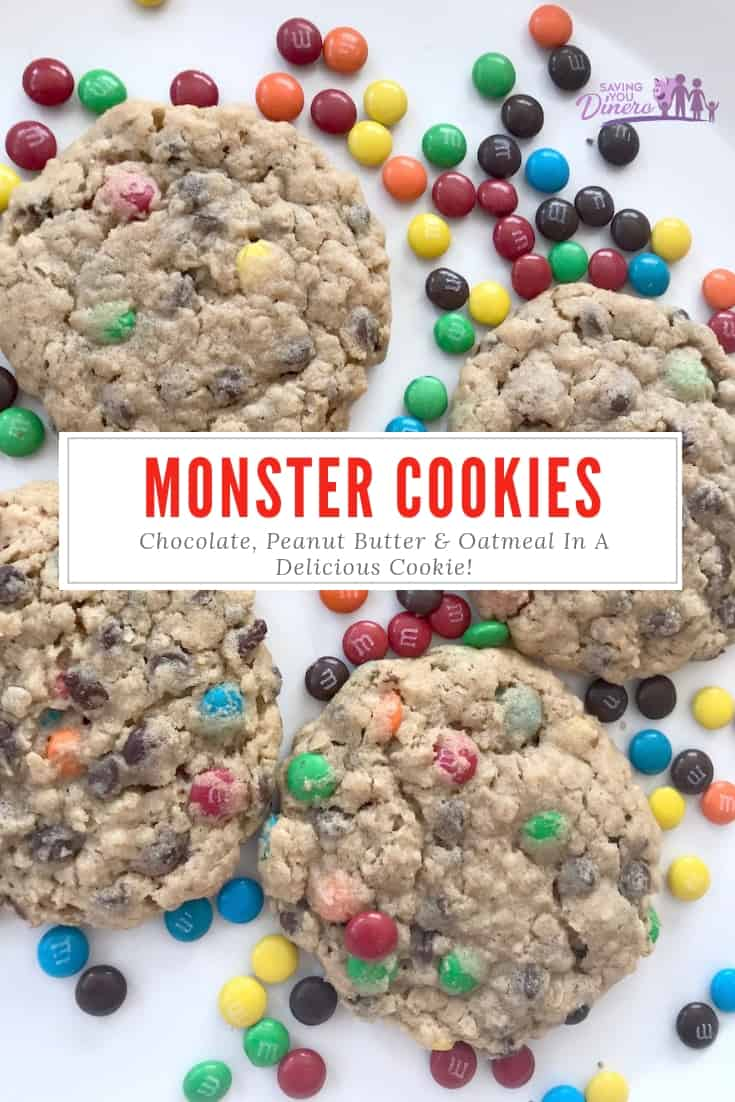 This is a really easy recipe for Monster Cookies. It has Peanut Butter, Chocolate Chips, and Oatmeal flavors with M&Ms candies. Make them for Christmas or with leftover Halloween candy. #Cookies #chocolate #MMS #holidaybaking #ChristmasBaking #ChristmasCookies