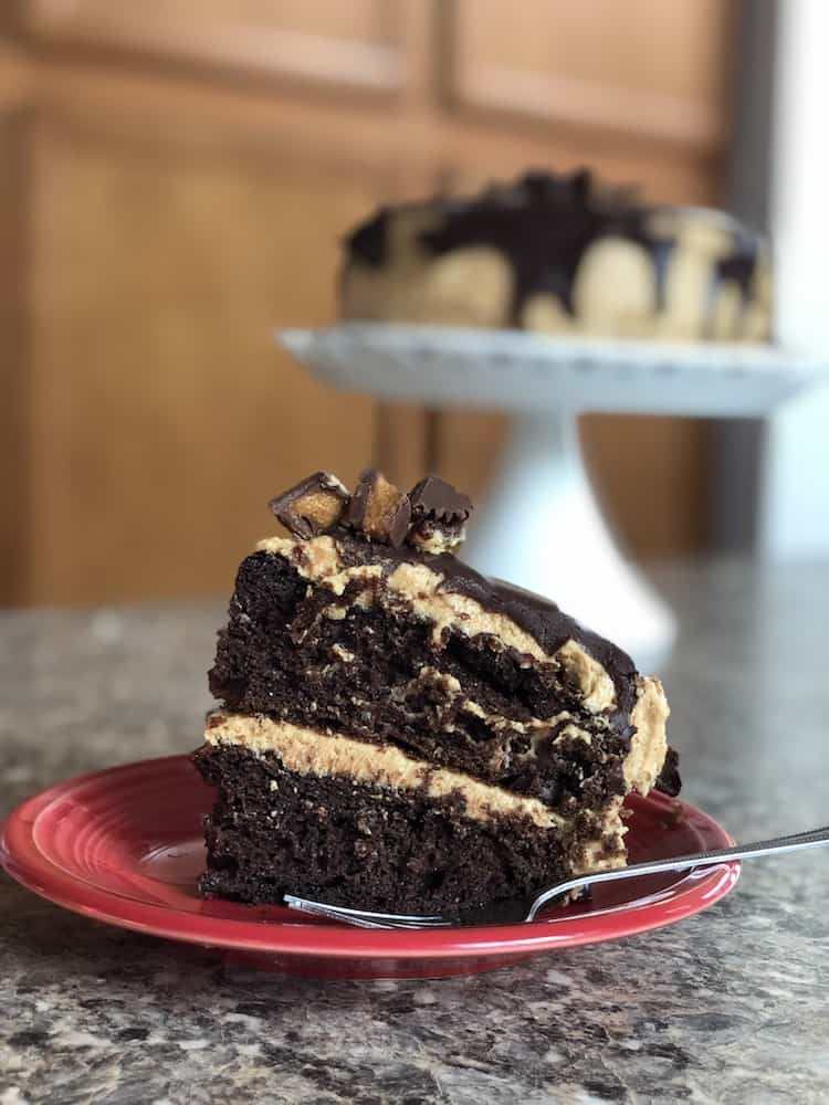 Chocolate Cake with Peanut Butter Buttercream With A Chocolate Ganache