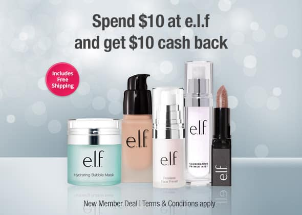 Get $10 to Spend at e.l.f. Cosmetics – After Cash Back!