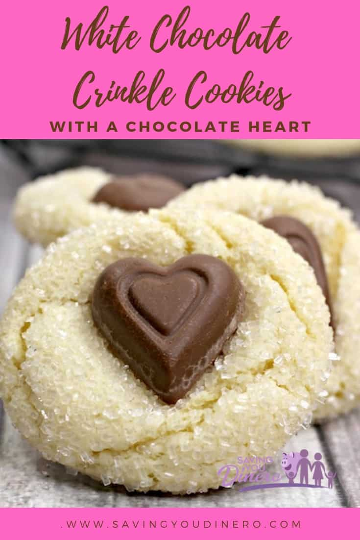 Everyone will love these unique Valentine's Day Cookies - White Chocolate Crinkle Cookies With A Chocolate Heart. It's an easy recipe that could be for kids, spouse, or co-workers.  It's a simple, homemade cookie everyone will love. #SYD