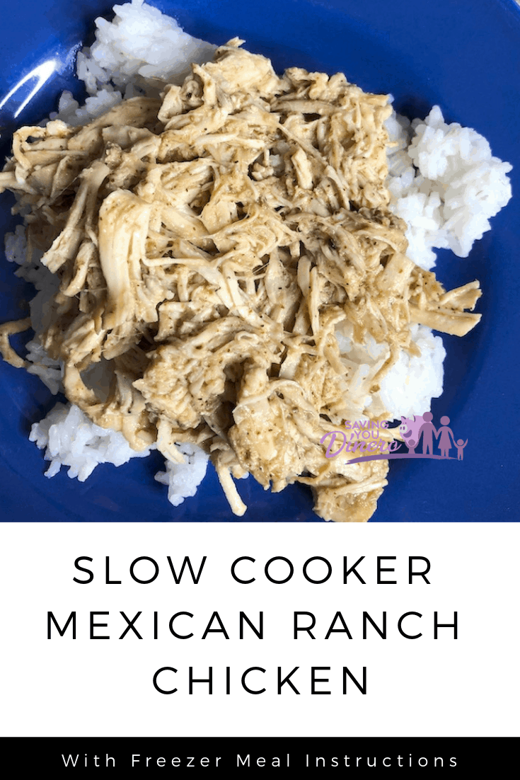 Easy Kid friendly slow cooker dinner recipe: Slow Cooker Mexican Ranch Chicken. You can make this with boneless skinless chicken breasts. Use the shredded meat in tacos, on top of rice or in a salad. You can even make it a freezer meal.
