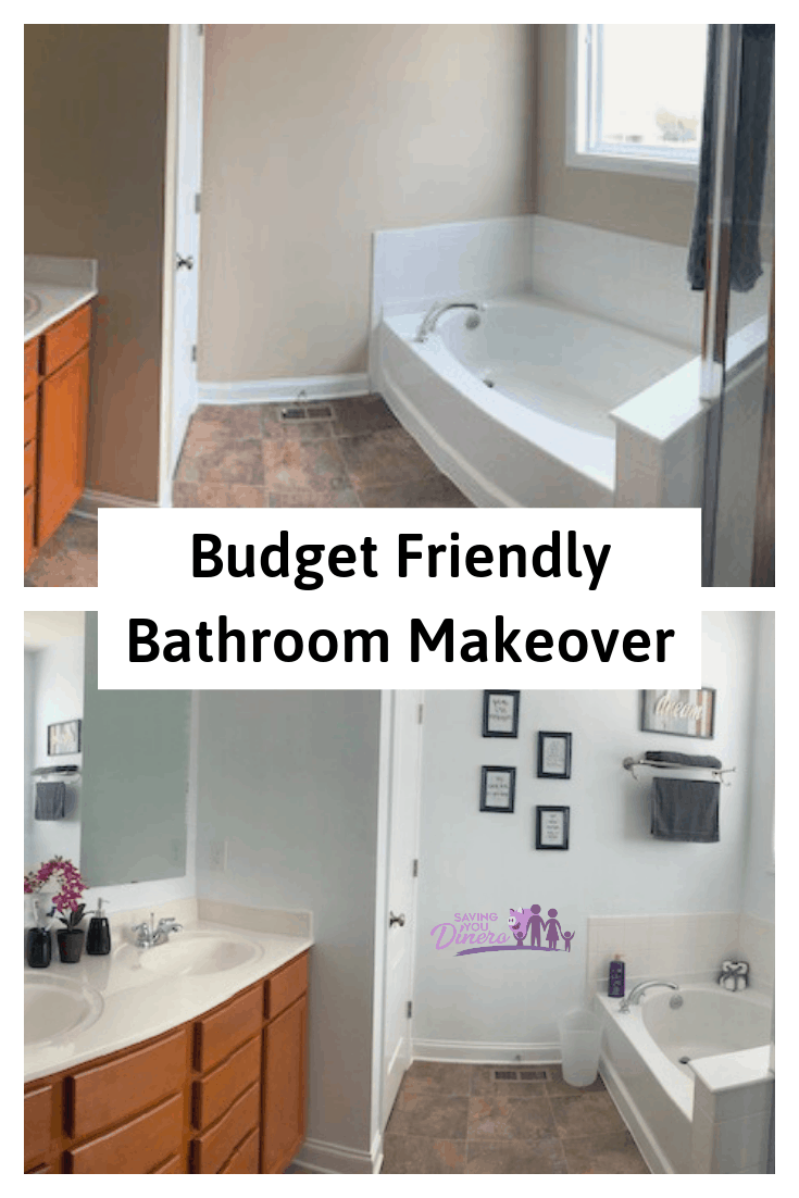 #ad My DIY Bathroom Makeover on Budget was so much fun. It was cheap and easy and has a nice Farmhouse look now. You can check out my before and after images to see the huge difference. I used inexpensive paint for this makeover. #FDNewBeauty @FamilyDollar