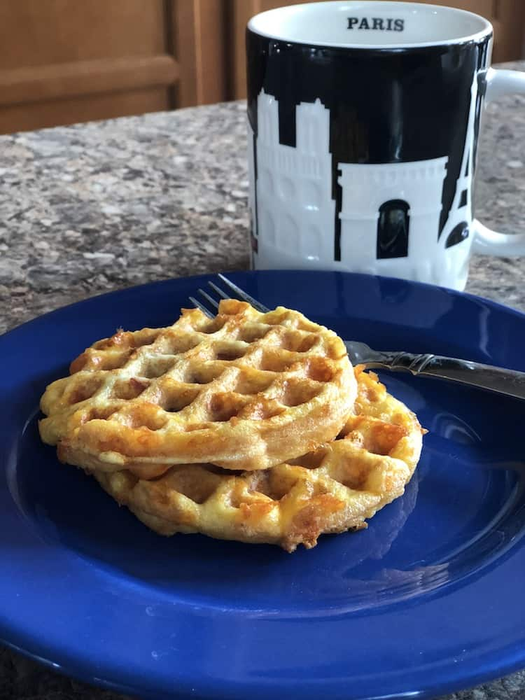 Keto Bacon, Egg, & Cheese Chaffles are so easy - mix the ingredients, add them to the waffle maker, cook for 2:30 and it's done! It's a great keto, low carb breakfast recipe!