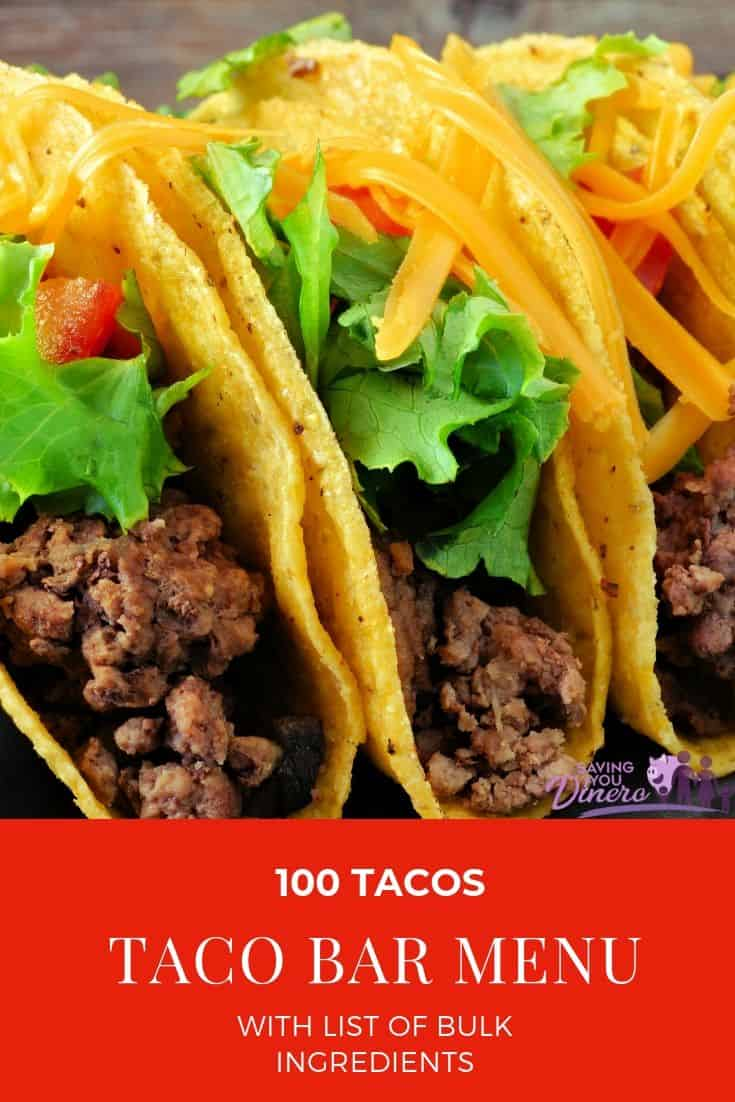 This easy taco bar party menu is great for a crowd. Set up a simple buffet for 100 tacos. If you need ideas to serve a crowd this is easy and budget friendly. I have told you the ingredients you need to feed a crowd. You can customize your taco bar and add other ingredients!