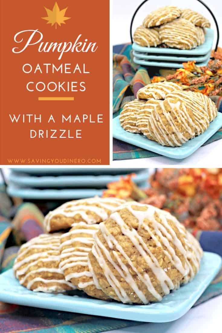 It's time for easy pumpkin cookie recipes! You will love all the flavors in this Pumpkin Oatmeal Cookie with a Maple Drizzle. They are soft and chewy and so simple to make! This is a pumpkin dessert recipe you want to try!