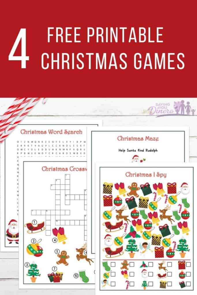 Free Christmas Printable Games for Kids including I Spy, Christmas Maze, Christmas Crossword Puzzle, and Christmas Word Search. Print these 4 free Christmas Activities with answers and use it for a classroom party, church Christmas party, or as a road trip boredom buster.