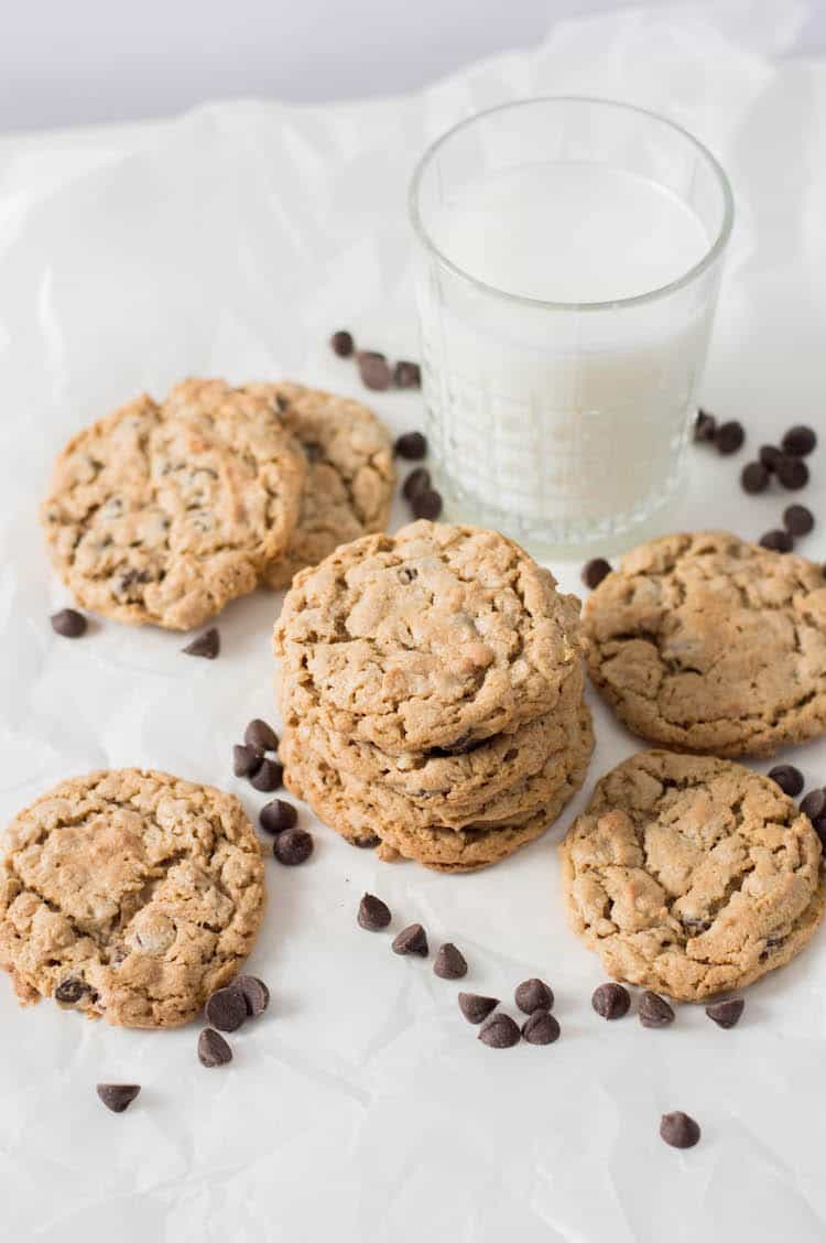 If you are looking for a Gluten Free Cookie Recipe - this is it!! It's a flourless cookie with oatmeal, peanut butter and chocolate chips!