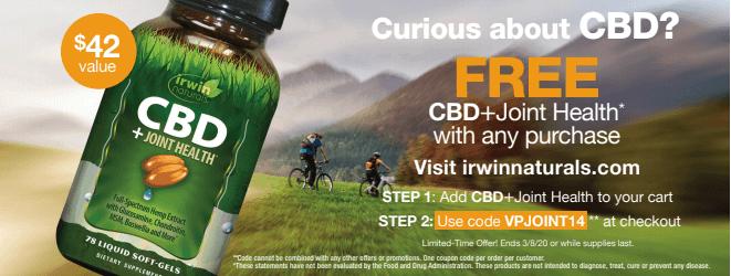 Get A Free Bottle of CBD+Joint Health at IrwinNaturals.com