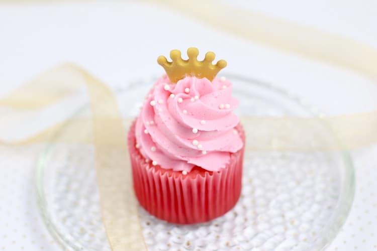 Princess Raspberry Jello Cupcakes with White Chocolate Raspberry Jello Buttercream Frosting