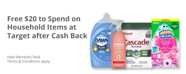 $20 FREE on Household Essentials at Target After Cashback + $20 New Members Sign Up!